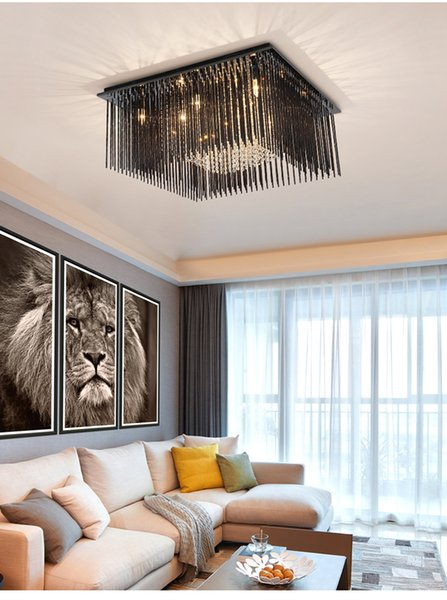 2019 Bedroom Square Smoke Gray Crystal Rod Ceiling Lamp LED 3 Brightness K9  Crystal And Chrome Mirror Stainless Steel. Living Room Ceiling Lamp L From  ...