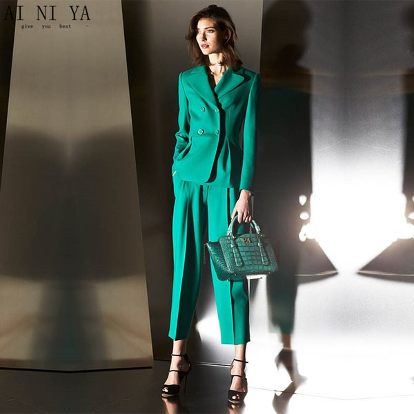 Jacket+Pants Green Women Business Suits Formal Professional Elegant Pantsuits Office Uniform Style Ladies Winter Formal Suits