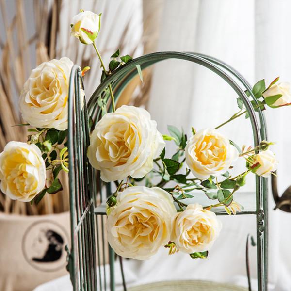 3 têtes de roses fleurs en soie tissu en plastique fleur 3 fleurs et 2 bourgeons sur une seule pièce bouquet de fleurs artificielles pour la décoration de la maison