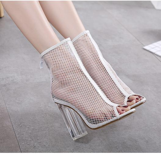 chic white meshy PVC transparent crystal thick heels shoes ankle bootie women summer sandals black size 34 to 40