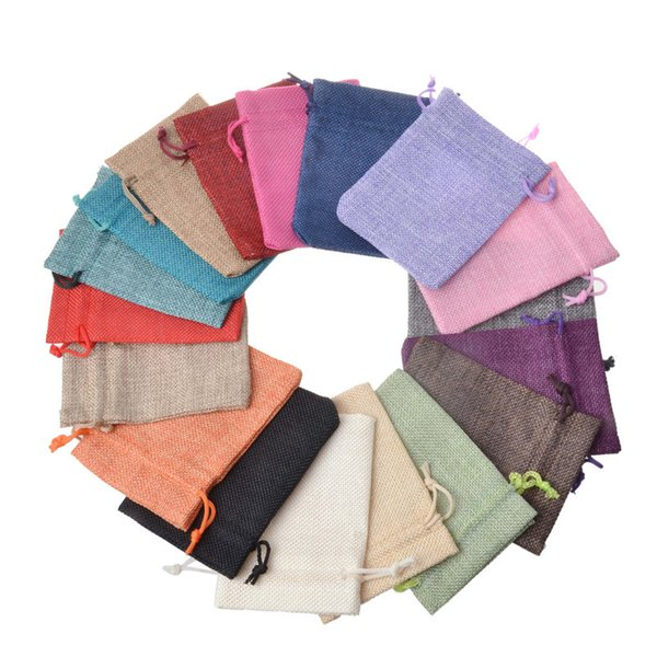 best selling 100pcs lot 7x9cm 9x12cm Multi Colors Mini Pouch Jute Bag Linen Hemp Jewelry Gift Pouch drawstring Bags For Wedding favors,beads