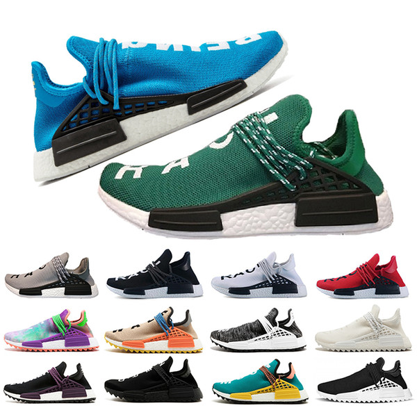 Acheter Adidas Nmd Human Race Nmd Pharrell Williams Race Humaine Peace Blue Red Pale Nude Green Femmes Chaussures De Course Hommes Designer Baskets