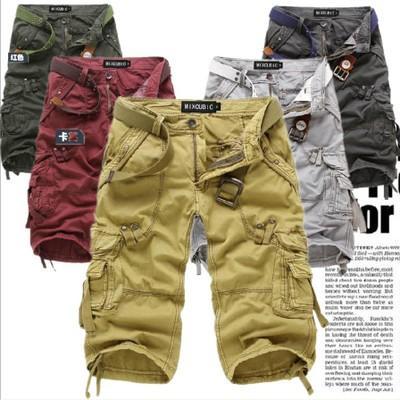 Men's Summer Shorts Korean Men's Loose Multi-Pocket Overalls Europe and America Washed Cropped Pants Men's Pants