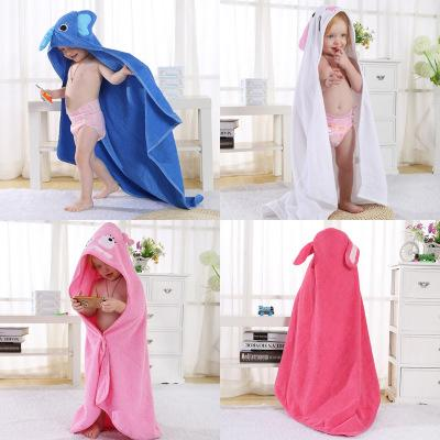 Cute Children's Animal Cartoon Absorbent Blue Elephant Hooded Bathrobe Baby Cotton Towel 0-6T Children Bath Fast Drying Rub Body Robes