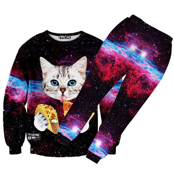 hot sale men/women 3d cat/pizza printed hiphop sweatshirt crew neck graphic galaxy sweatshirts pants tracksuit sweat suits