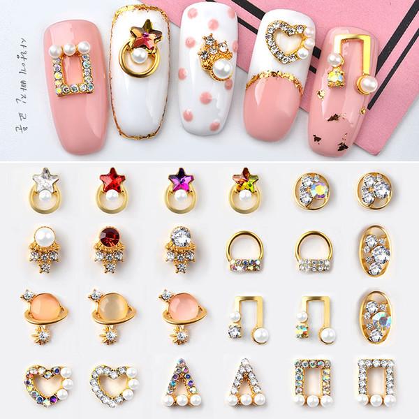 5pcs Crystal AB Glitter Nail Art Rhinestones 3d Hollow Metal Studs Star Heart Triangle Diamond Jewelry Japan Charm Decorations