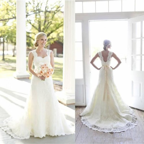 2018 Ful Lace Wedding Dresses Sweetheart Neck Sleeveless with Beaded Satin Sash Open Back Court Train Vintage Bridal Gowns