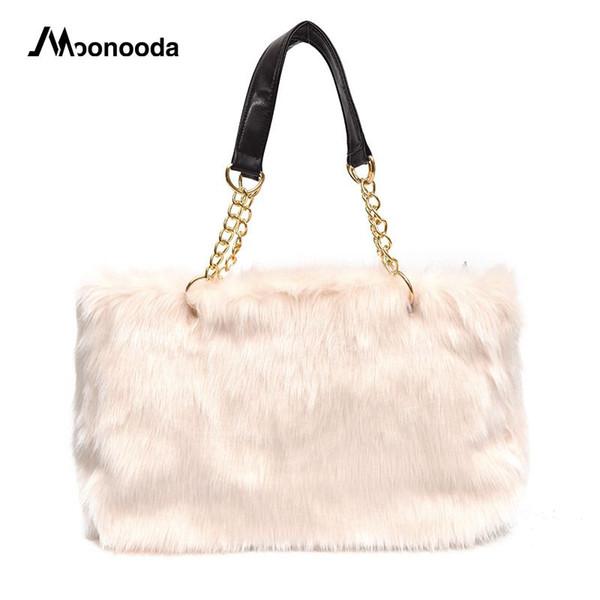 Moonooda Nuevo bolso de felpa de la vendimia Bolso de hombro Europeo y Americano Peludo Faux Fur Big Bag Suave Señoras de piel Tote Bolsas de cadena