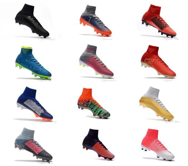 2018 yüksek kalite Mercurial Superfly CR7 FG AG Futbol Çizmeler boyutu us3-us11 18 renkler mavi beyaz kırmızı turuncu Futbol Ayakkabıları