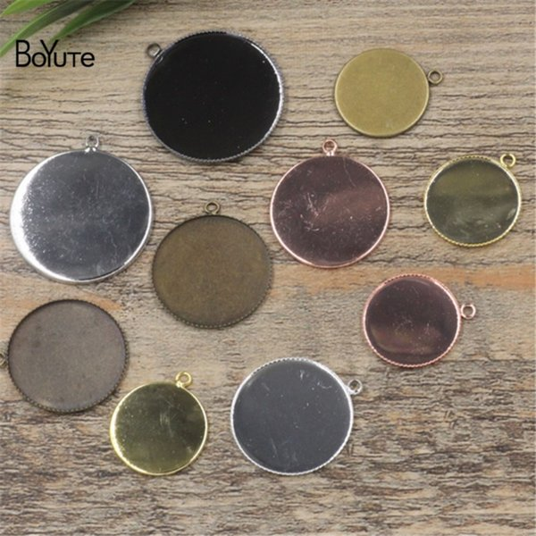 BoYuTe 50Pcs Black Gun Plated Round 20MM 25MM 30MM Cameo Cabochon Base Setting Pendant Blank Tray Diy Jewelry Findings & Components