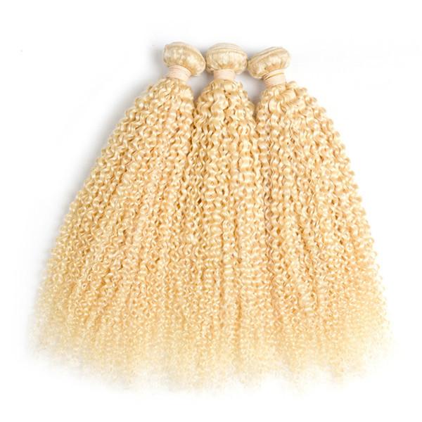 # 613 Platino Capelli biondi peruviani fasci Bundles Ricci crespi capelli umani Estensione da 10 pollici a 30 pollici Kinky Ricci capelli ricci tessitura