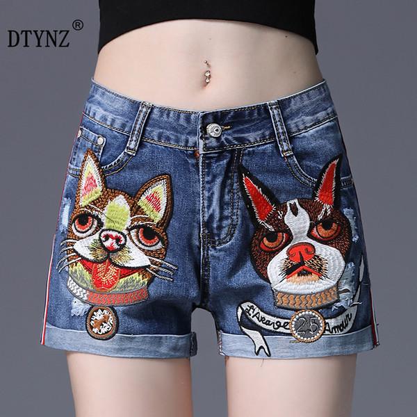 DTYNZ Summer femme tête de chien Short en denim de broderie femme Side Stripe épissé pantalon chaud à sertir taille haute short jambe large
