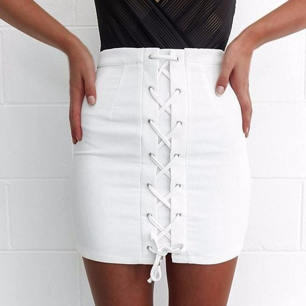 womens pencil skirts bandage high waisted bodycon ladies white belt wrap short mini skirt plain women summer uk, Black