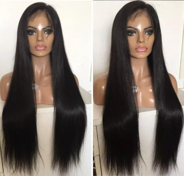 Full Lace PU around Wig 9A Silky Straight Burmese Virgin Human Hair Full Lace with Thin Skin Wig for Black Woman Free Shipping