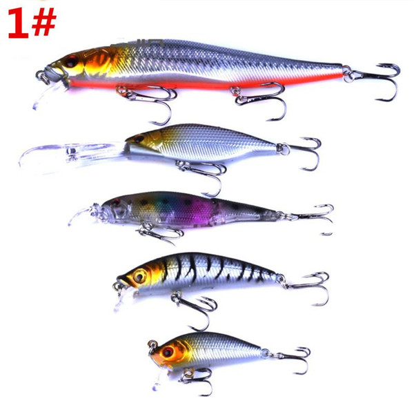 Mix size Fly Fishing bait 5styles/set 3D eyes Green or Silver color Laser Minnow Rattlin Crank Hard Lure