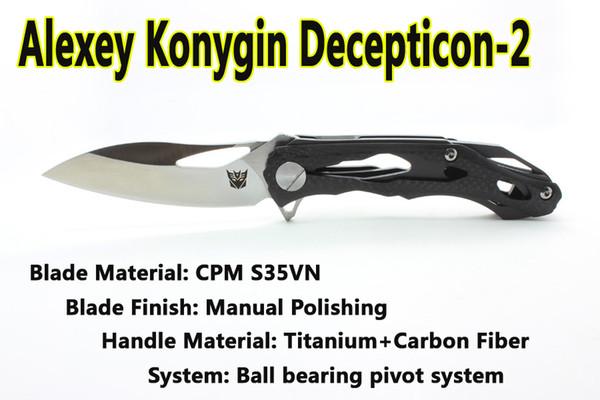 Version améliorée Clone personnalisé Alexey Konygin CKF Decepticon2 Pliant Camping Couteau S35VN Lame Fiber De Carbone Poignée Tactique Outils EDC