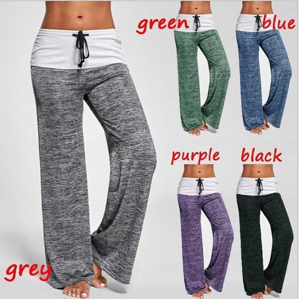 Vente chaude nouvelles femmes fashion plis Heather jambe large occasionnels pantalons de yoga bas femmes pantalons taille