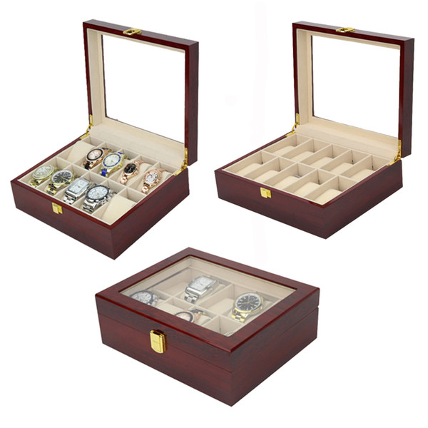 2019 New 10 Grids Wooden Watch Case Watch Boxes Casing for Hours Sheath for Hours Box