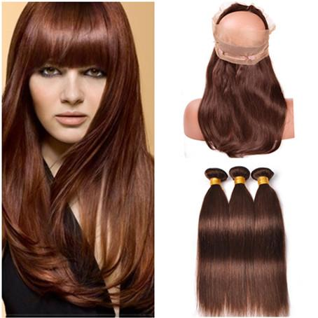 Virgin Peruvian Medium Brown Human Hair Wefts with 360 Full Lace Closure 22.5x4x2 Straight #4 Chocolate Brown Weave Bundles with 360 Frontal