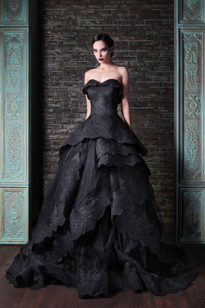 New Gothic Black Wedding Dresses Vintage Sweetheart Ruffles Lace Tulle Ball Gowns Sweep Train Tie up Back Bridal Gowns Custom