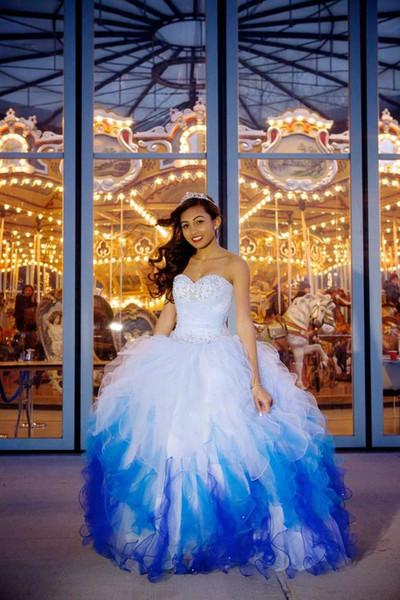 Sweet Sixteen Quinceanera Blue and White Organza Dresses 2018 Plus Size Crystals Sweetheart Masquerade Ball Gowns Tiered Ruffles Sweep Train