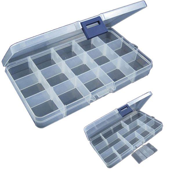 Portable 15 Slots Adjustable Plastic Fishing Lure Hook Tackle Box Storage Case Organizer Multifunctional Fishing Tackle Box