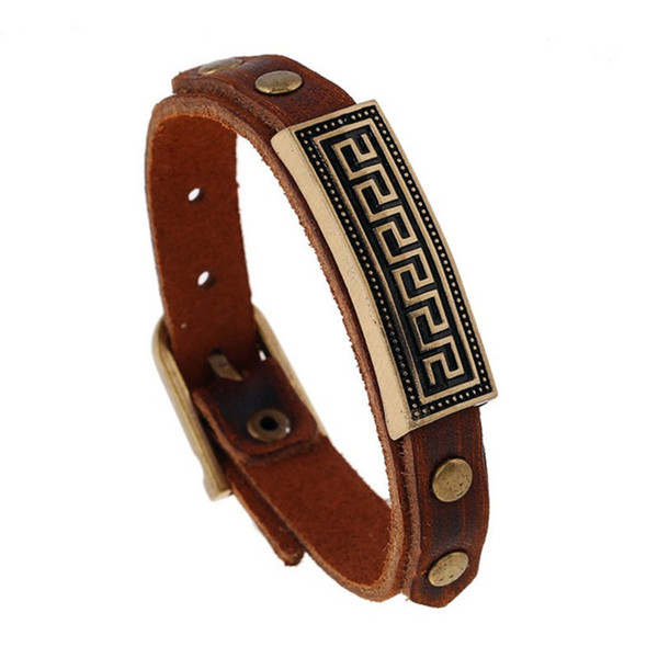 Fashion Anchor Skeleton ID Rivet Brown Leather Bracelet Retro Punk Concise Men Bangle Cuff Wristband Adjustable Jewelry Gifts for Men