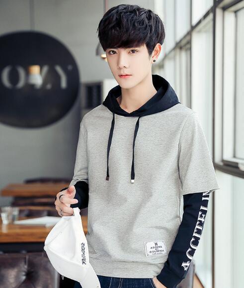 Autunno nuovo Hooded Maglione da uomo versione coreana di vacanza studente due serie di giacca sportiva con cappuccio casual