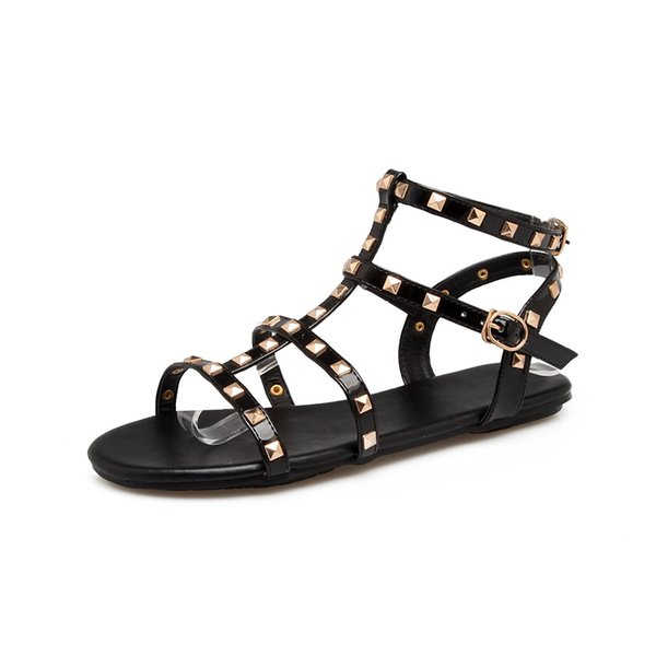 Sexy New Sandals Shoes For Women Casual Rome Summer Shoes Rivet Gladiator Sandals PLUS BIG SIZE:35-43 CZ130