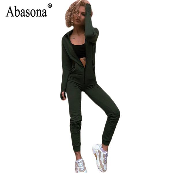 2b3d1c05bd41 Compre Abasona Verde Mujer Mono Con Capucha Sportwear Manga Larga Bodycon  Mono Romper Mujeres Bolsillo Zipper Casual Playsuit A $46.55 Del Stripe |  ...