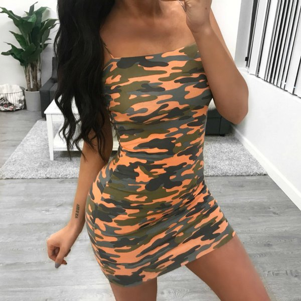 Party Slip Printing Dress Camo Spaghetti Straps Short Mini Dress 2019 Fashion Womens Sexy Camouflage Summer