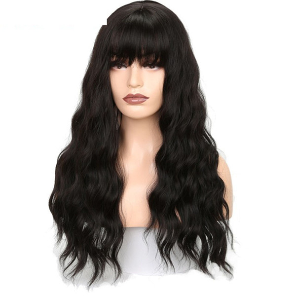 Long Wavy Wigs For Black Women African American Long Black Body Wave Synthetic Lace Front Wigs With Bangs Heat Resistant