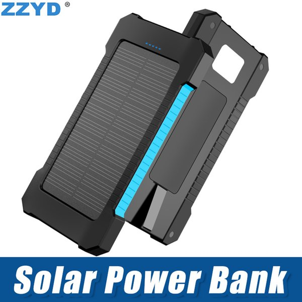 ZZYD 6000mAh Solar Power Bank Waterproof External Battery portable Solar Powerbank For Cell phone iPhone 7 plus iPhone 8 With retail pack