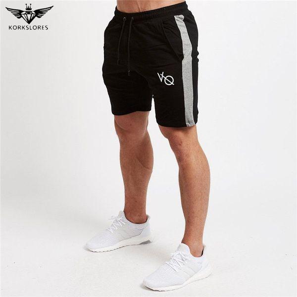 Оптовая продажа-KORKSLORES высокое качество новые мужчины фитнес шорты мода досуг спортивные залы бодибилдинг тренировки мужской теленка длина короткие бренд тренировочные брюки