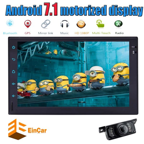 "Eincar Android 7.1 Quad Core Car Autoradio 7"" WiFi Double Car Radio Stereo BT GPS Navi OBD2 microphone USB SD Game+Rear Camera"