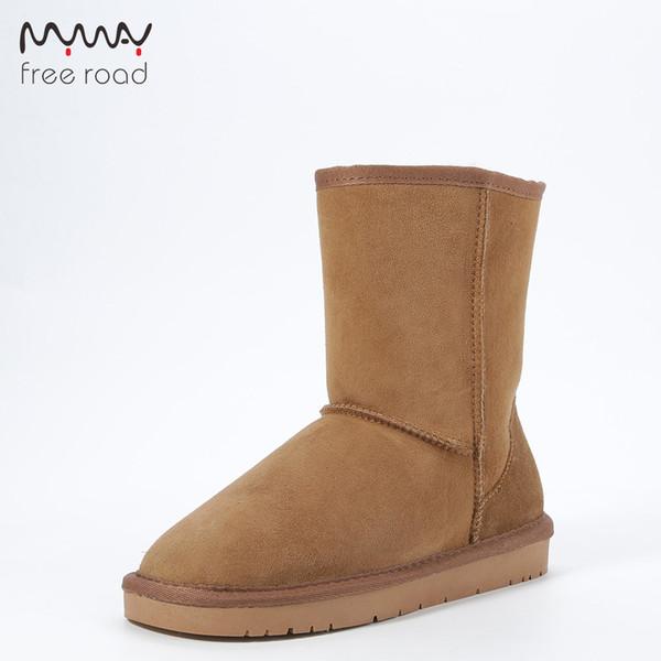 Stivali da neve donna classica vera pelle di montone vera pelle di pecora foderata stivali da neve a metà polpaccio antiscivolo impermeabile scarpe invernali