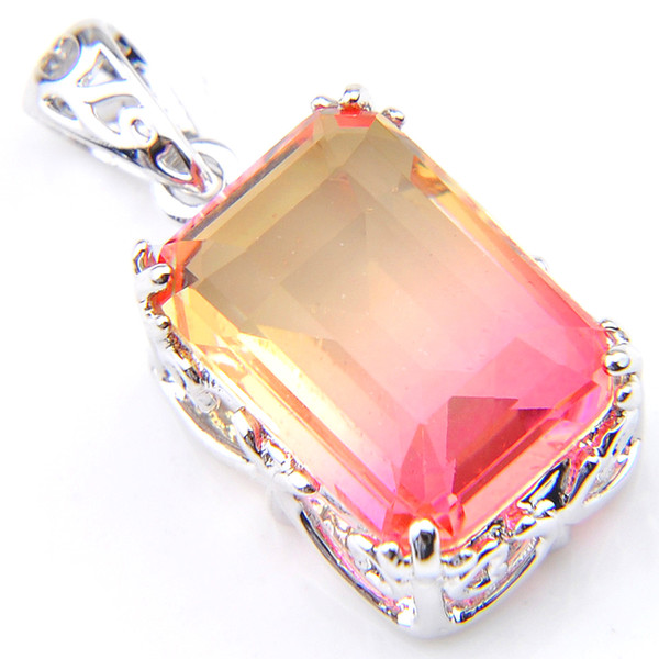 12 pcs/lot Jewelry Gift Lovely Sweet Pink Gradient Bi-Colored Tourmaline Gemstone Silver Necklace Pendants Jewelry Gift New