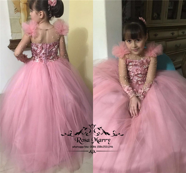 Luxury Pink Ball Gown Toddler Girls Pageant Dresses for Teens 2020 Long Sleeves Pearls 3D Floral Cheap Little Kids First Communion Gowns