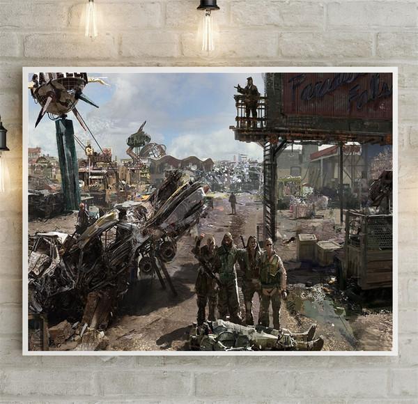 Satın Al 2018 Fallout 3 Tuval Boyama Oyunu Ev Dekorasyon Duvar