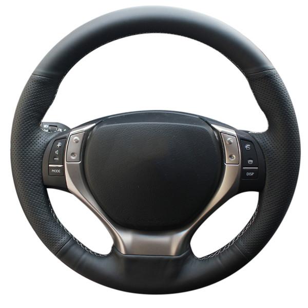 Lexus ES250 ES300h GS250 GS300h için direksiyon Kapak üzerinde Örgü RX270 RX350 DIY Hakiki Deri Araba-Styling İç Aksesuar