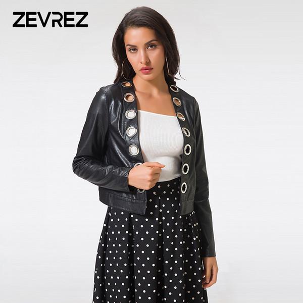 2018 Yeni Moda Sonbahar Yumuşak Faux Deri Ceketler Lady Motorcyle Kuşgözü Kabanlar Siyah PU Deri Ceket Kadınlar için Palto Zevrez