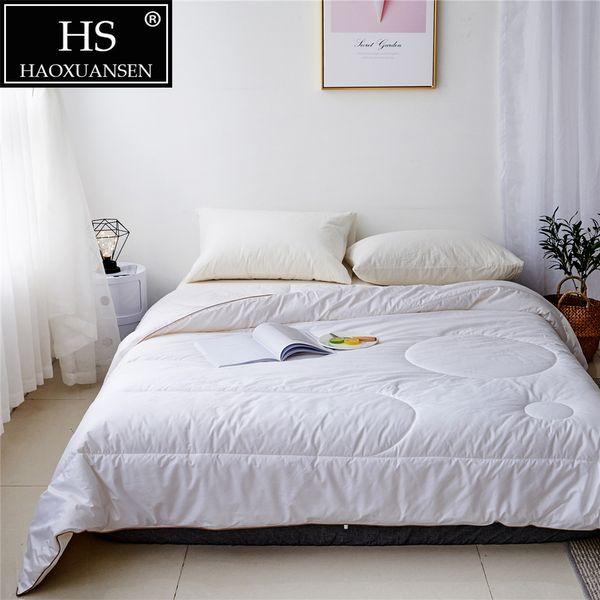 hs 3~4 kg winter wool quilt luxury thicken stitching comforter/duvet/blanket king queen twin size white fast ing