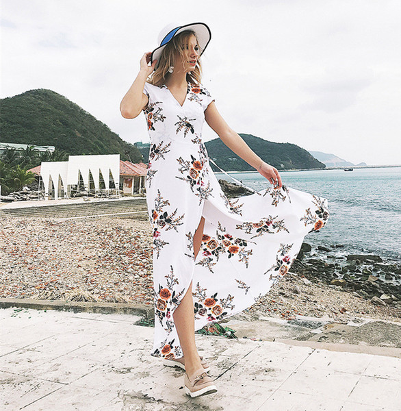 Femmes Robe 2018 Hot Summer Sexy Hors Épaule Floral Print Robe en mousseline de soie Boho Style Short Party Beach Robes Q02