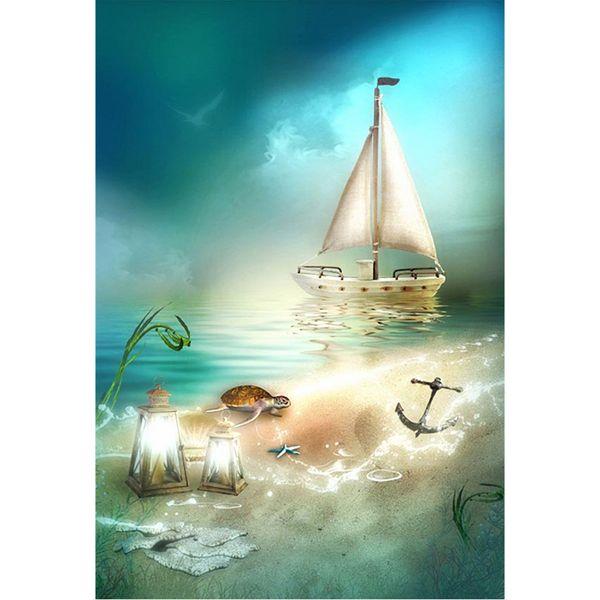 Nouveau-né Bébé Enfants Dessin animé Photo Arrière-plans Imprimé Ciel bleu Voilier Lanternes éclairées Tortue Bord de mer Plage Photographie Toile de fond