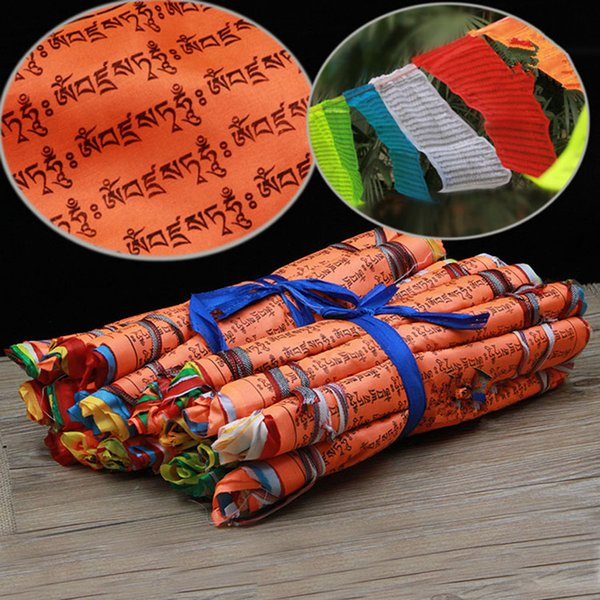 7 Colors 21 Faces /string Vajrasattva Mantra Silk Cloth 27*28cm 5 Meters Tibetan Buddhist Hanging Decorate Prayer Flags