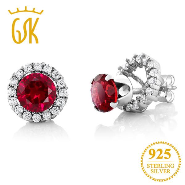 GemStoneKing 2.00 Ct Redondo 6mm Red Creado Ruby Pendientes Para Mujeres Sólido 925 Sterling Silver Extraíble Chaqueta Stud Pendientes