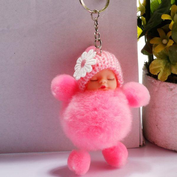 Free DHL 2019 Lovely Pompom Rabbit Fur Ball Keychains Cute Sleeping Baby Doll Pendant Key Rings Car Key Holder Jewelry Bag Keyfob H598Q F