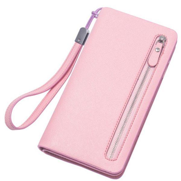 Cross-shaped long wallet zipper large-capacity High quality Frabric ladies' eather handbag Star model money clam wallet