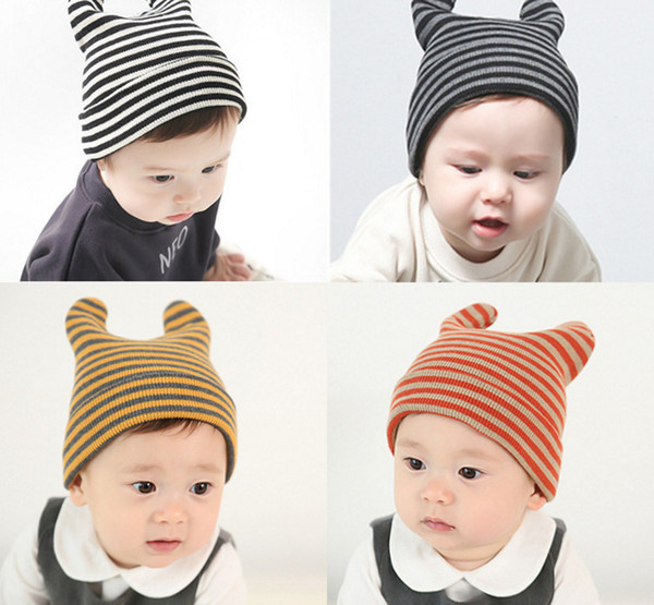 INS Baby cartoon Caps Kitty Woolen Yarn Autumn Winter Beanies Knitted Girl Gifts Infant Hats Cute Rabbit Ears Hats 12 Colors LC645