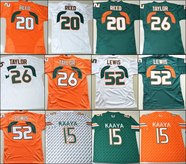 Camisetas de fútbol americano de la universidad 15 Brad Kaaya 26 Sean  Taylor 52 Ray Lewis b8e8d192aa657